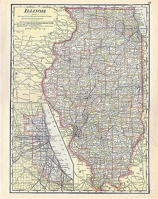 1912 TWO ORIGINAL MAPS Illinois and Wisconsin CRAM ATLAS