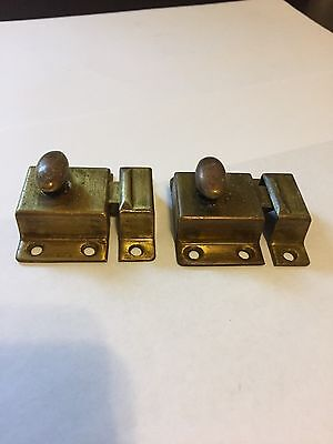 2 Old Brass Arts Craft Deco Victorian Cabinet Cupboard Hoosier Door Latch Lock