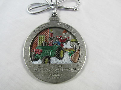 2000 John Deere Pewter Christmas Ornament- #5 in this series- New in Pouch