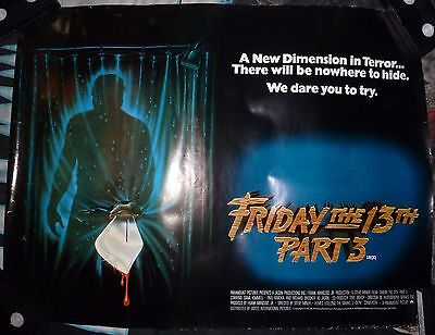 Friday The 13Th Part 3. Original British Quad Poster. 1982. Rare.