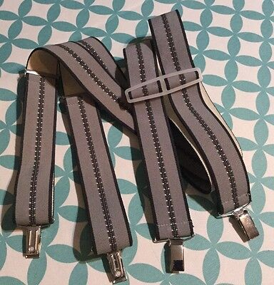 Vintage Braces Mens Gents Suspenders Grey Silver Metal Clip-On Retro Elastic VGC