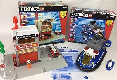 Tomy Tomica 85303 Hyper City Rescue Fire Station + 85111 Set Bundle BOXED