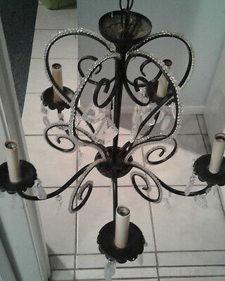 Vintage Black 5 Arm Chandelier W/beads,crystals