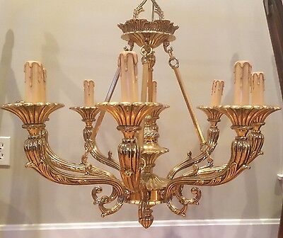 Mariner Spain Vintage Solid Brass French Directoire 8 Lamp Hunt Horn Chandelier