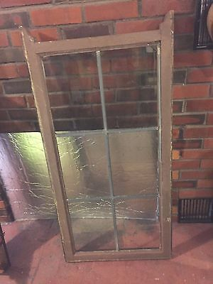 Leaded Glass Windows Antique Vintage Old Art Deco English Crafts Wood