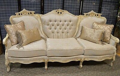 Vintage Carved French Provincial Style Tufted Sofa