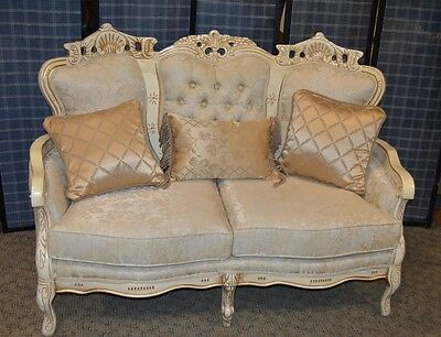 Vintage Carved French Provincial Style Tufted Loveseat