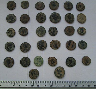 Lots of 32 Uncleaned Roman  Bronze Coins high Quality
