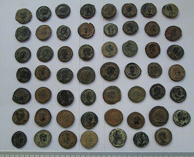 Lots of 55 Uncleaned Roman  Bronze Coins high Quality