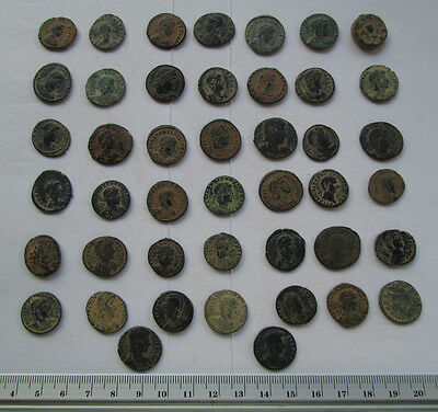 Lots of 44 Uncleaned Roman  Bronze Coins high Quality