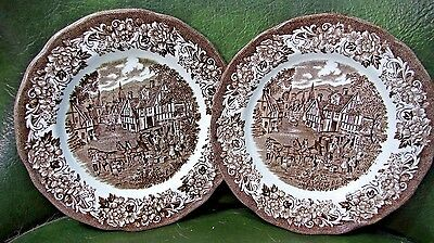 "TWO Meakin STRATFORD Stage Pattern BROWN TRANSFER 7"" Bread/Cake Plates MINT"