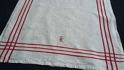 old linen kitchen Towel / Runner with red border design hardly used