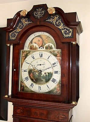 Excellent mahogany & Inlaid 8 day Moon phase longcase grandfather clock C1790