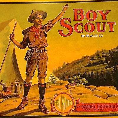 Boy Scout Orange Box Label Post Card Printed 1987 By Out Of The West Publishing