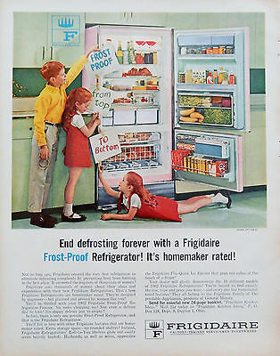 Vintage 1962 Frigidaire Pink Green Refrigerator kids advertisement print ad