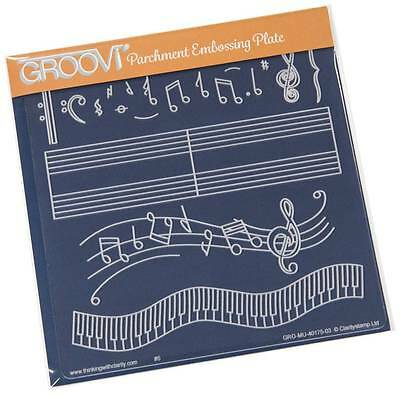 CLARITY STAMP GROOVI Parchment Embossing Plate MUSICAL SCORE GRO-MU-40175-03