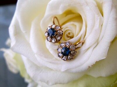 1.00Ct Natural Rose Cut Diamond Blue Sapphire Floral Earrings In Sterling Silver