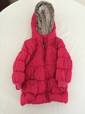 M&S Pink Coat Jacket Padded Heart Detail Quilted Age 3-4 Years  N29