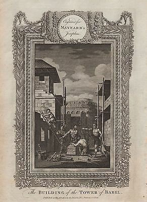 1790 Ca-ANTIQUE PRINT-MAYNARD'S JOSEPHUS-THE BUILDING OF THE TOWER OF BABEL