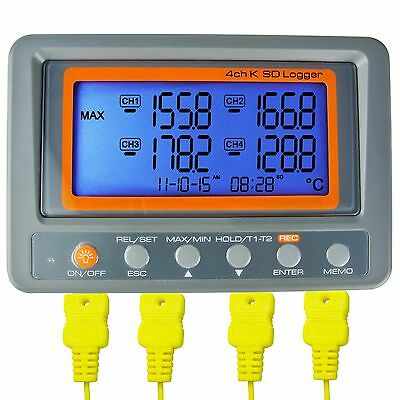 AZ Instruments 4 Channel K Type Thermometer SD Card Data Logger Thermocouple ...