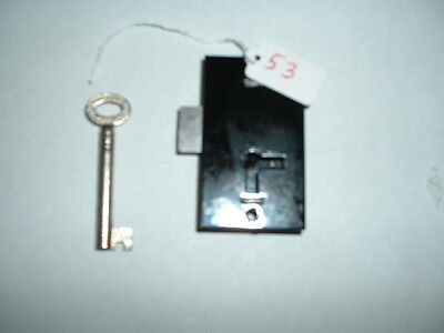 "new cabinet lock& key 2 1/4 x1 1/4 x 3/8"" black steel british made"