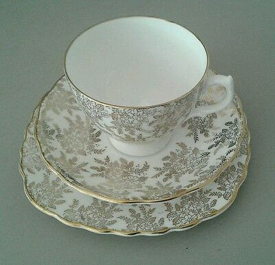 Royal Vale cup saucer plate trio. in festive gold and white
