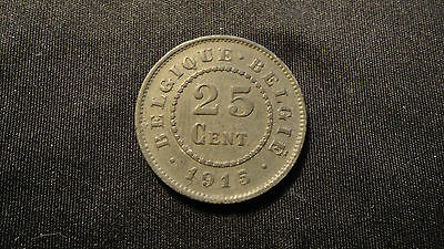 1915 Belgium 25 Centimes- Occupation Curreny- Unc.