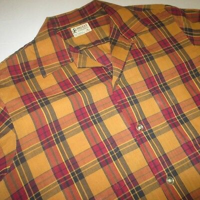Vintage 50S 60S Macy'S Supre-Macy Plaid Loop Collar Thin Button L/s Shirt Mens M