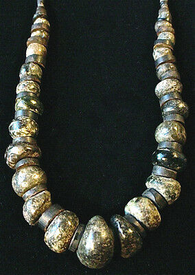 Pre-Columbian Mezcala Jade Green Stone Bead Necklace Mexico