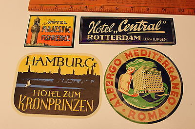 4)Vintage Original Hotel Luggage Labels Travel Stickers Germany,France,Italy etc