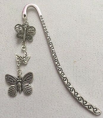 Tibetan Silver Bookmark - With Butterfly Charms - Uk Seller - Perfect Gift