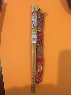 Japanese Colorful Big Flower Chopsticks With Free Handmade Silk Holder