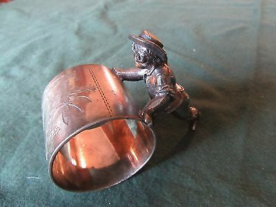 Figural Napkin Ring, Boy Rolling Ring,meriden 161, Estate Collection
