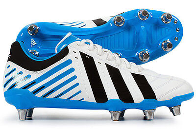 Adidas Adipower Kakari SG Mens Black White Blue Boots UK 9 Wide Fit