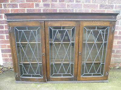 Solid Wood Leaded Glazed Display Cabinet Bookcase with plate shelves - LOOK!