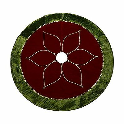 """Valery Madelyn 48"""" Red and Green Tree Skirt with Traditional Christmas Flower"""