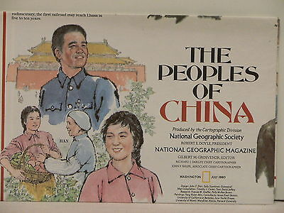 Vintage1980 National Geographic Map of Peoples of China