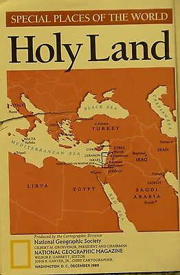 1989 National Geographic of Map of the Holy Land