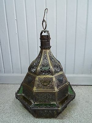 Antique Art Nouveau Ornate Brass Stained Glass Light Shade Multi Colored Fixture