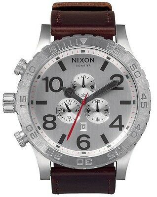 Nixon 51-30 Chronograph A1241113 Silver Dial Brown Leather Band Men's Watch
