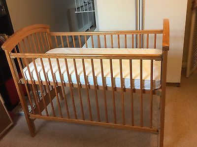 mothercare pine cot bed, mattress and changer top