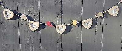 Heart Garland Bunting Photo Frame Picture Holder Baby Nursery Child Animal Gift