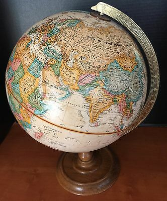 "Replogle 12"" World Classic Series Globe Gold Tone Metal Stand Ussr Excellent"