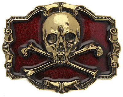 Gold Plated Skull and Crossbones Belt Buckle In A Gift Box + Display Stand (RED)
