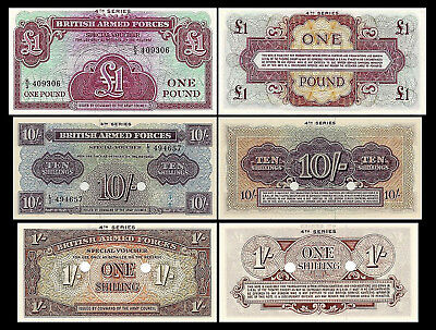 2x 1 Sh, 10 Sh, 1 Pound - BRITISH ARMED FORCES - Issue ND 1962 4th Series - 19