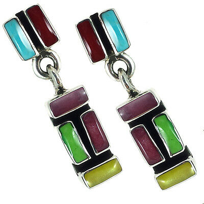 TAXCO STERLING SILVER 925 OXIDIZED MOSAIC EARRINGS -Mexico Vintage Style Jewelry