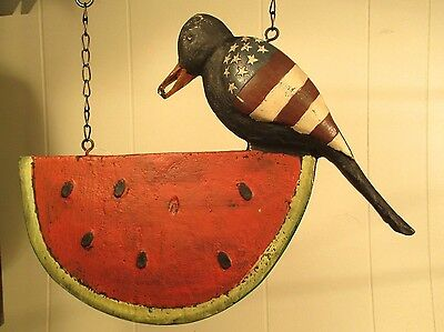 """CROW ON WATERMELON"" Replacement Sign - Resin Sign for Country Arrow Holders"