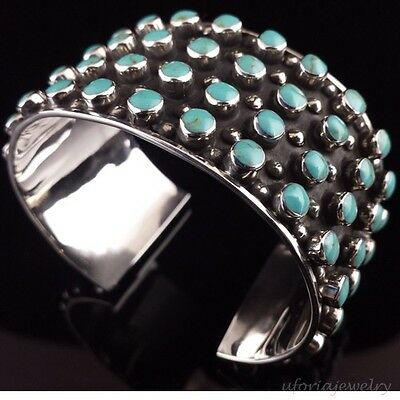 VINTAGE STYLE TAXCO 925 TURQUOISE CUFF BRACELET | Mexico Sterling Silver Jewelry