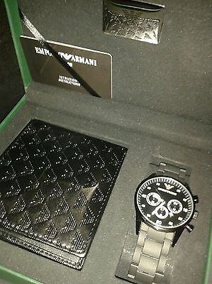 EMPORIO ARMANI Boxed gift set *New* Black Watch with Chevron Leather Wallet