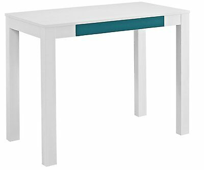 Altra Parsons Study Desk With Drawer White Finish Teal Front